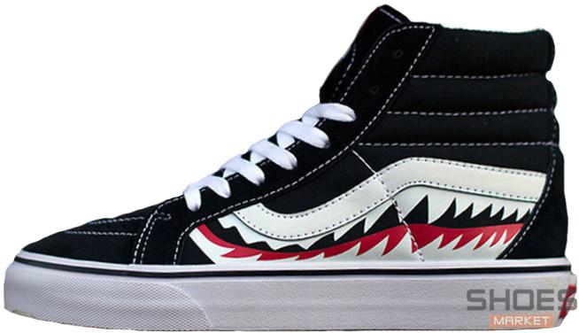 32d31984b2 Мужские кеды VANS SK8-HI x BAPE SHARK Custom Black - Интернет-магазин обуви