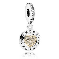 Серебряно-золотая подвеска Логомания Pandora , 792082CZ