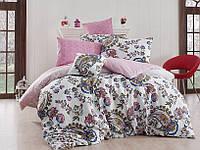 Качественный евро комплект постельного белья ТМ Nazenin Home, ранфорс Channel-Pembe, фото 1