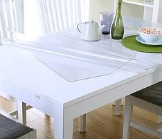 Плотное прозрачное покрытие (скатерть клеенчатая) для защиты деревянных и стеклянных столов