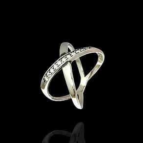 Серебряное сдвоенное кольцо с фианитами, фото 2