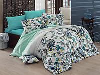 Качественный евро комплект постельного белья ТМ Nazenin Home, ранфорс Channel-Turkuaz, фото 1
