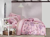 Качественный евро комплект постельного белья ТМ Nazenin Home, ранфорс DAISY PEMBE/NR-144