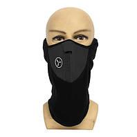 Теплая маска, веломаска, мотомаска, маска для сноуборда неопрен черная