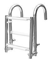 Лестница складная 1+2 с поручнями 1101050, нержавеющая сталь