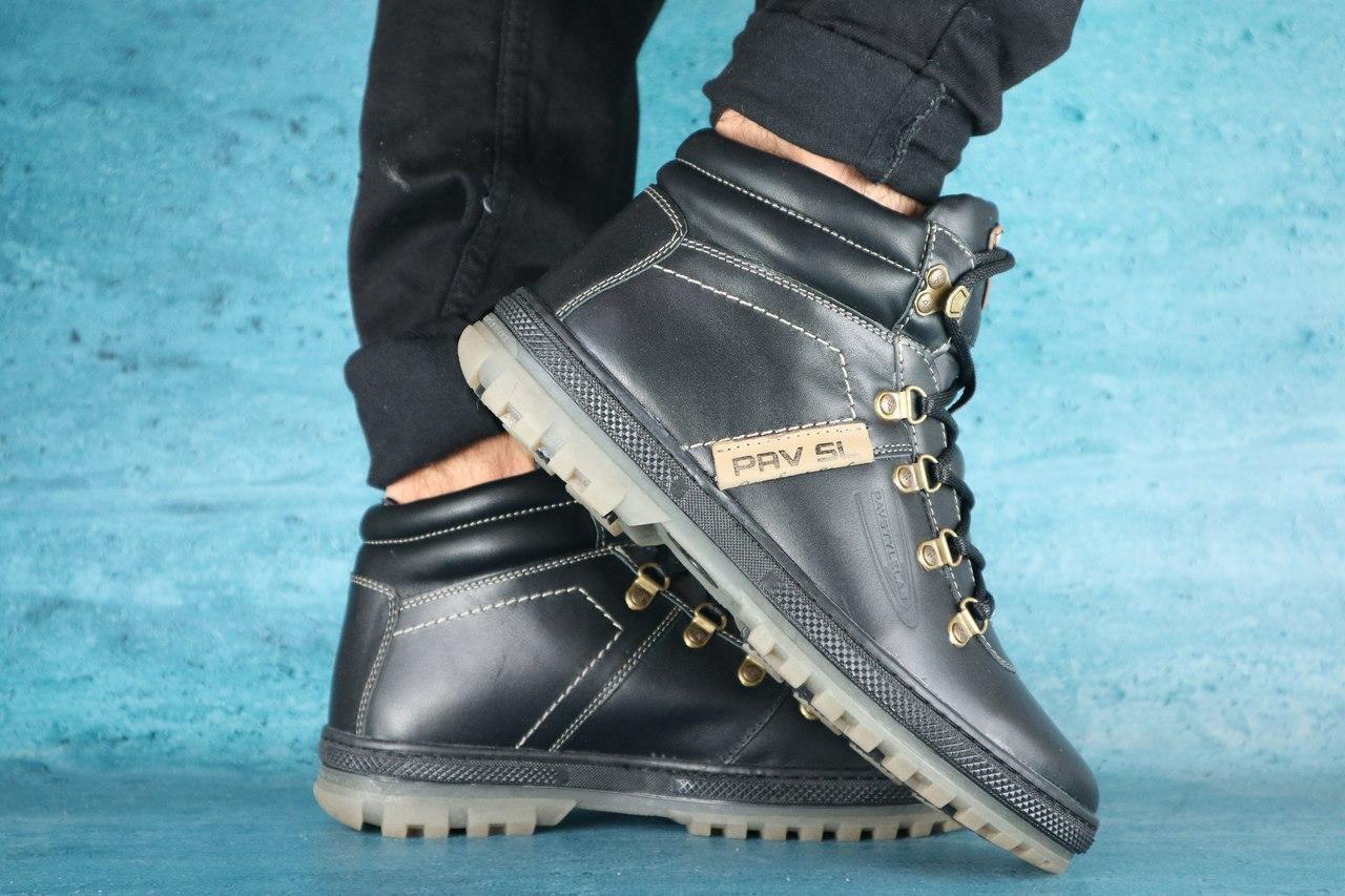 Высокие зимние ботинки PAV черные на меху
