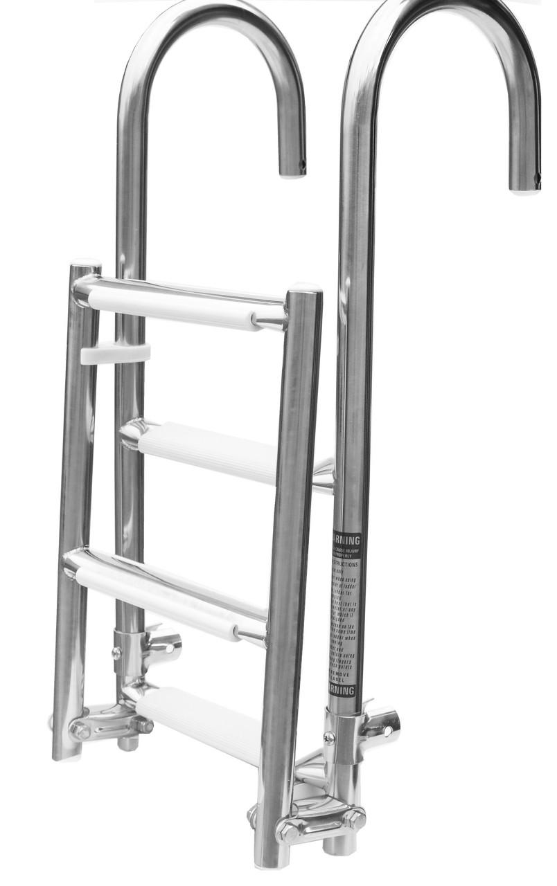 Лестница складная 2+2 с поручнями 1101051, нержавеющая сталь