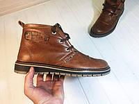 Полуботинки Clarks мужские на меху (коричневые), ТОП-реплика, фото 1