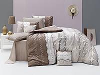 Качественный евро комплект постельного белья ТМ Nazenin Home, ранфорс Ekinoks-Kahve, фото 1