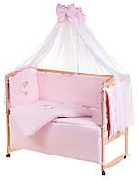Постель Qvatro с аппликацией Однотон.100% Хлопок (8 Элем.) розовая (мишка спит на облаке)
