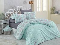 Качественный евро комплект постельного белья ТМ Nazenin Home, ранфорс LINES-MINT-2