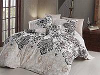 Качественный евро комплект постельного белья ТМ Nazenin Home, ранфорс Luxury-Kahve, фото 1