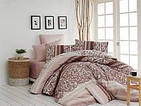 Качественный евро комплект постельного белья ТМ Nazenin Home, ранфорс MADELINE-KAHVE-2