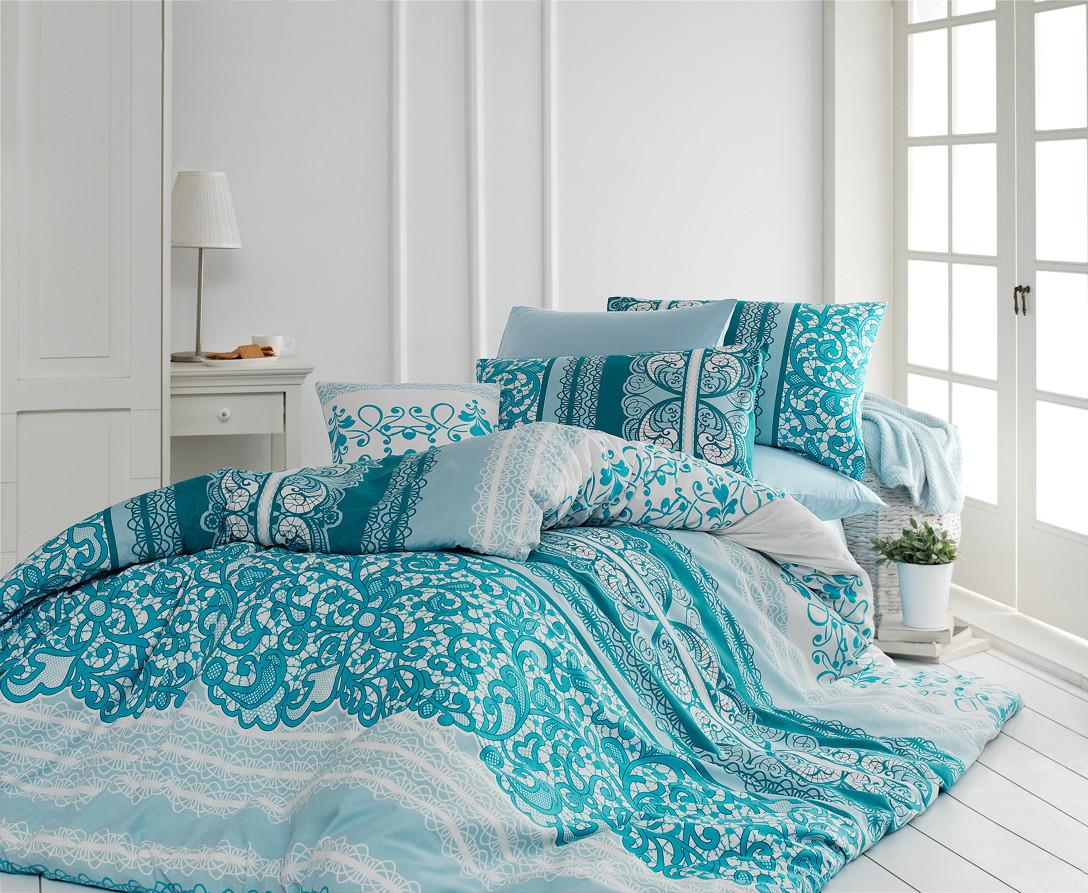 8368ffe61037 Качественный евро комплект постельного белья ТМ Nazenin Home, ранфорс  MADELINE-MINT-2