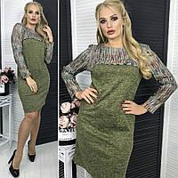 Платье ангора   комбинированное  50,52,54  тс1253  , фото 1