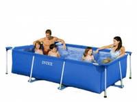 Синий прямоугольный каркансый  бассейн Intex Rectangular Frame Pools 58983 (150х220х60 см)