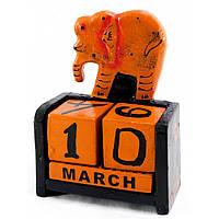"""Календарь настольный """"Слон"""" дерево черный"""