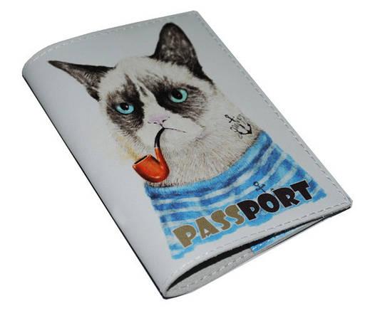 Кожаная обложка для паспорта Недовольный котэ