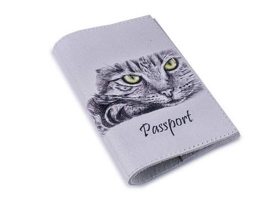 Кожаная обложка для паспорта Кошечка