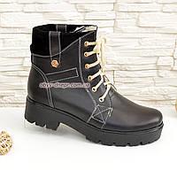 Женские зимние ботинки кожаные на шнуровке