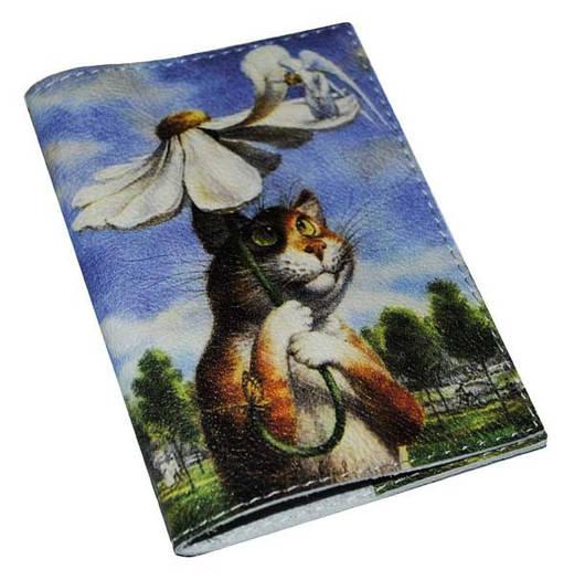 Кожаная обложка для паспорта Кот под зонтиком