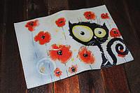 Кожаная женская обложка для паспорта Кошка и маки