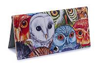 Женское портмоне Цветные совы. Ручная работа