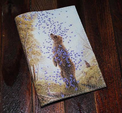 Обложка на паспорт Медведь и бабочки