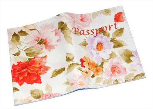 Кожаная женская обложка для паспорта с цветами Весенняя