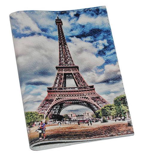 Кожаная обложка на паспорт/загранпаспорт Эйфелева башня