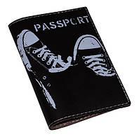 Кожаная обложка для паспорта Кеды