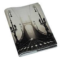 Кожаная обложка для паспорта/загранпаспорта Мост  в тумане