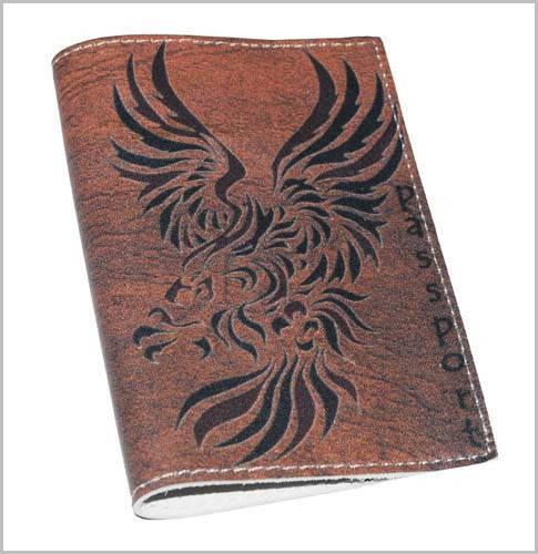 Кожаная мужская обложка для паспорта Дракон