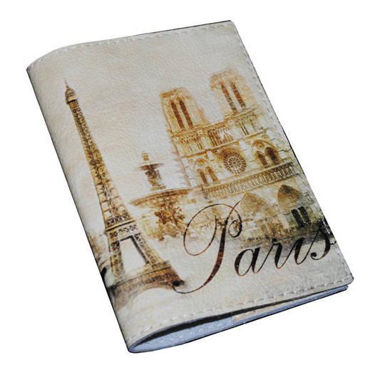 Кожаная обложка на паспорт Винтажный Париж