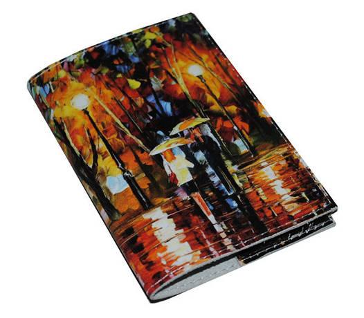 Обложка для паспорта Пара под зонтиками картина