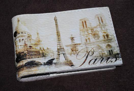 Кожаная визитница Винтажный Париж