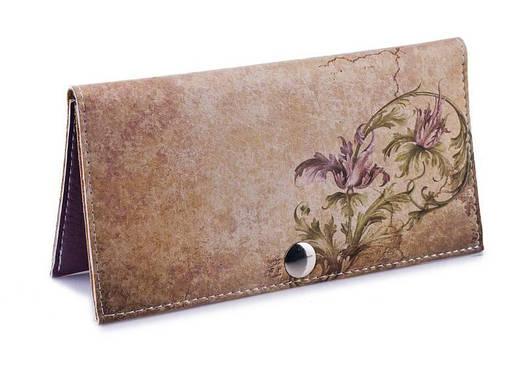 Женское портмоне Цветы на камне. Ручная работа