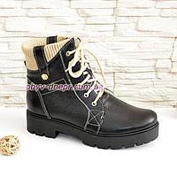 Женские зимние ботинки на шнуровке из натуральной кожи флотар