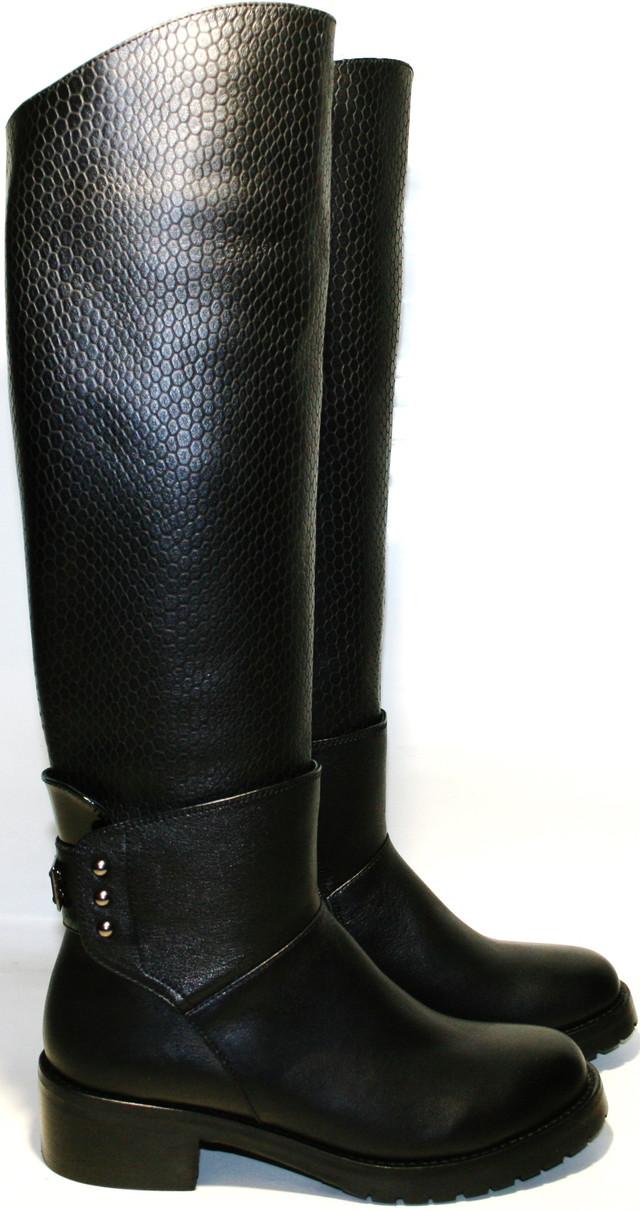 790c831572cd Женские зимние сапоги кожаные на низком каблуке европейки, черные Richesse