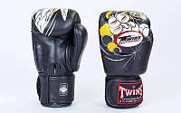 Перчатки боксерские кожаные на липучке TWINS (р-р 10- 14oz, черный)