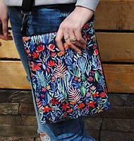 """Модная женская сумка через плечо """"Цветы на синем фоне"""""""