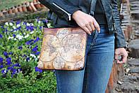 """Женская кожаная сумка с принтом """"Карта"""""""