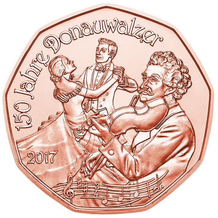 Австрия 5 евро 2017 г. Дунайский вальс , UNC.