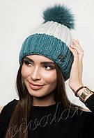 Женская шапка двухцветная с натуральным бубоном РИО