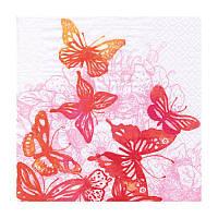 """Салфетка для декупажа """"Удивительные бабочки"""", красные, 33*33 см"""
