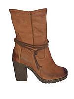 Женские полусапожки кожаные демисезонные коричневые Kordel 4423
