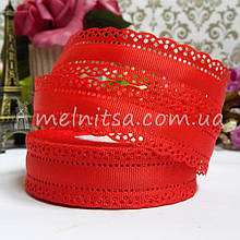 Лента репс с перфорацией по краям, 25 мм, красный