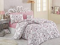 Качественный евро комплект постельного белья ТМ Nazenin Home, ранфорс ROSELLA-PUDRA-2, фото 1