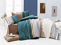 Качественный комплект постельного белья ТМ Nazenin Home евро размер, ранфорс Ruling-Haki