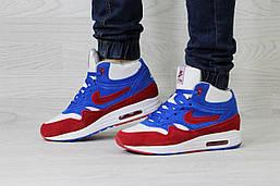 Кроссовки Nike Air Max мужские зимние (синие с белым), ТОП-реплика